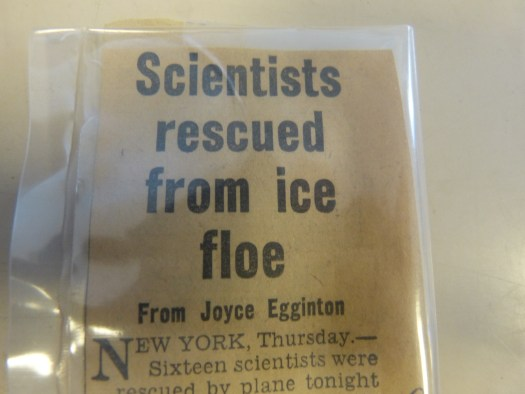 Newspaper article describing rescue from ice