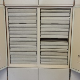 Photo showing storage boxes for the specimens in the collection cupboards