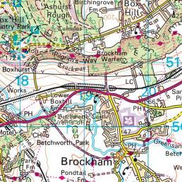 Brockham, Surrey on Streetmap