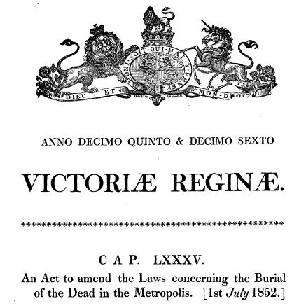burial act 1852