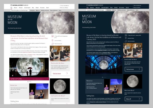 Comparison screenshots of Museum of the Moon exhibition page, showing one light and one dark.