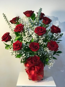 LVRE027- Red roses, eucalptus and baby breathSpecial: $90.00