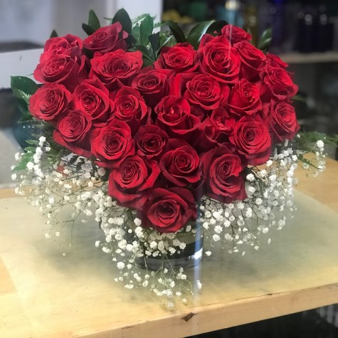 LVRE004-Heart fill with red rosesSpecial: $180.00