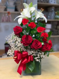LVRE021-Red roses, white lilies, red carnations and baby breath.Special: $64.99