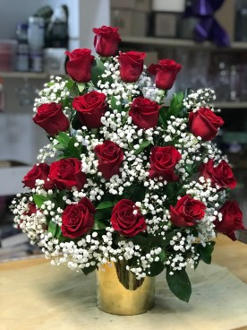 LVRE006-Tree style, red roses with baby breath in a gold ceramic vaseSpecial: $140.00