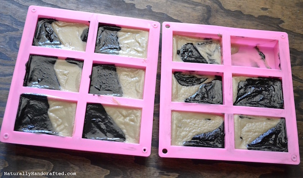 Pour Activated Charcoal Soap into Molds