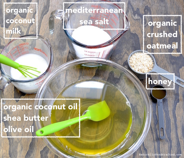 ingredients for oatmeal honey soap