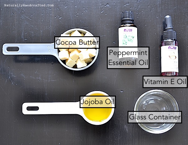 ingredients for mint chocolate body butter without coconut oil