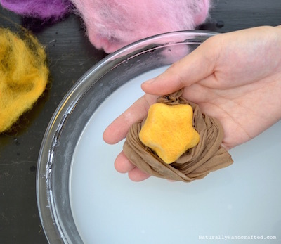 remove pantyhose from diy felted soap