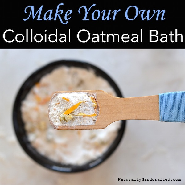 DIY colloidal oatmeal bath with a wooden scoop