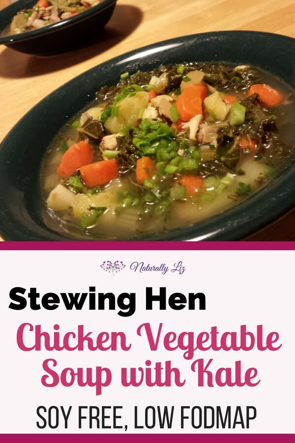 Stewing Hen Chicken Vegetable Soup with Kale is so yummy, filling, and nutrient dense. The meat and broth from the stewing hen adds a richness you won't find with regular chicken meat. Check out How to cook a stewing hen (full tutorial) for everything you need to know to prep a stewing hen to make a big batch of healthy flavorful Stewing Hen Chicken Vegetable Soup with Kale. No one would ever know that this soup is Low FODMAP and soy free. Substitute the potatoes with sweet potato or other root vegies for an AIP variation. Winner, winner, chicken (soup) dinner! ;-)
