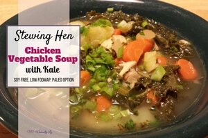 Stewing Hen Chicken Vegetable Soup with Kale (Low FODMAP, soy free)