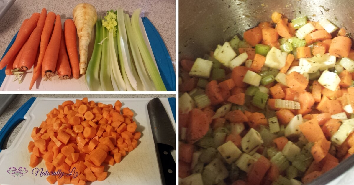 Prepped vegies for Stewing Hen Chicken Vegetable Soup with Kale