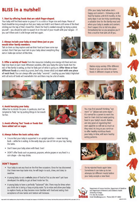 BLISS study infographic. Best practices for baby led weaning.