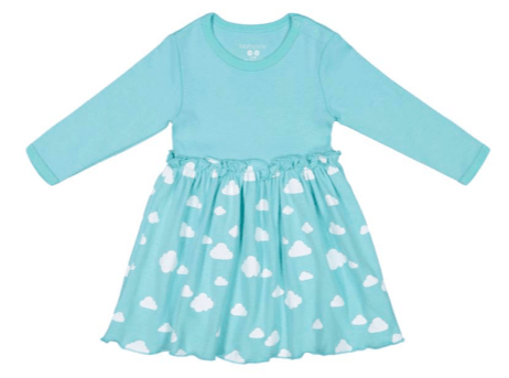 blue toddler dress made from organic cotton