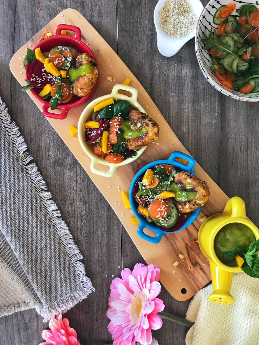 These cutlets made with moong sprouts and potatoes, folded in with some subtle spices, make the perfect after school snack for kids! Serve it with a seasonal mango mint dip and a fresh mango arugula salad for a great party appetizer! Either way, these cutlets will have your kids or guests wanting it for every meal!