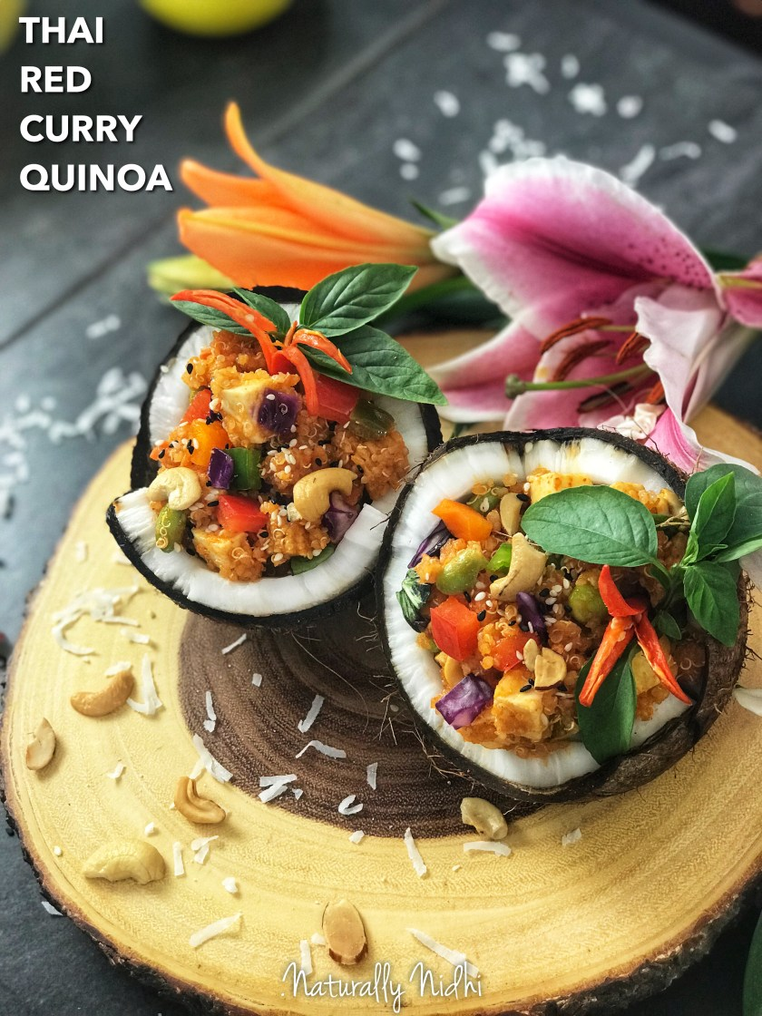 Enjoy this superfood, healthy and yummy, with this GORGEOUS Thai red curry quinoa that's full of fresh vegetables (cabbage, edamame, sweet peppers) with coconut milk and a creamy, velvety sauce! Perfect for parties, picnics, and gatherings in the summer, who wouldn't like an Asian inspired treat?