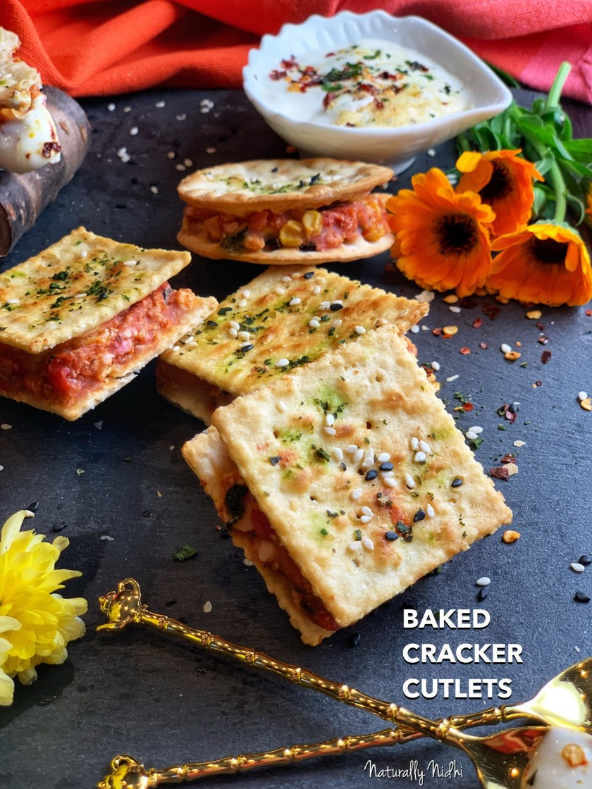 Baked Cracker Cutlets - a delightfully yummy cutlet made by sandwiching a vegetable medley filling between crackers, this easy appetizer is baked to perfection. Crispy, explosive, and vibrant, these are sure to be a hit at any party or gathering! Pair this with a tangy mustard aioli for an awesome appetizer!
