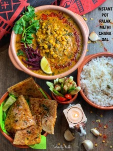 Perfect for busy weekdays and lazy weekends, this Instant Pot Palak Methi Chana Dal (Spinach Fenugreek Lentil Stew) is an easy, wholesome meal. Packed full of protein and iron and it's great for the winters! Enjoy it with paratha or rice!