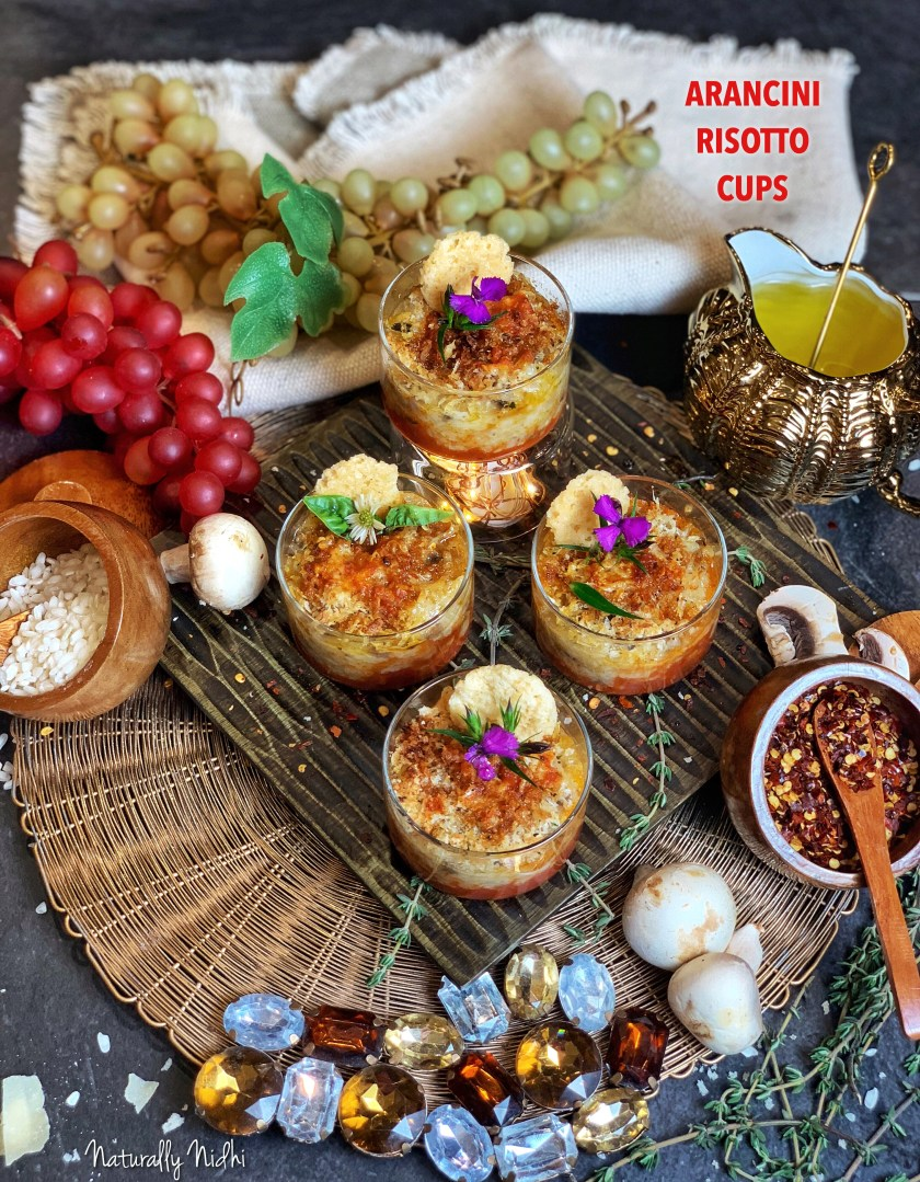 These gorgeous deconstructed Arancini cups, made of generous layers of creamy mushroom risotto, tangy marinara sauce, and crispy bread crumbs, are a sure fire way to win over anyone's heart! Enjoy the layers of flavor and dynamic taste, which will transport you to the land of Italy!!