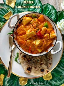 Instant Pot Paneer Coconut Masala - an Asian inspired twist on the timeless Indian classic, this paneer in coconut gravy is a harmonious blend of coconut milk and tomato, all at once. The crisp bell peppers, baby corn, and onions give it a lovely freshness and make it the perfect dish! Enjoy this with paratha, naan bread or rice!