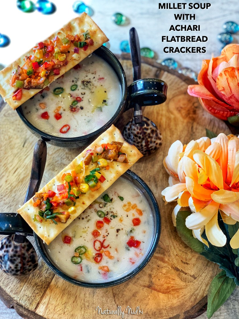 Healthy Millet Soup (Bajre ka Raab) with Achari Flatbread Crackers - featuring a smooth and earthy soup with bursts of freshness from vegetables like corn and peppers. Pair it with some spicy flatbread crackers for a nutritious superfood soup that will warm you up from the inside out!