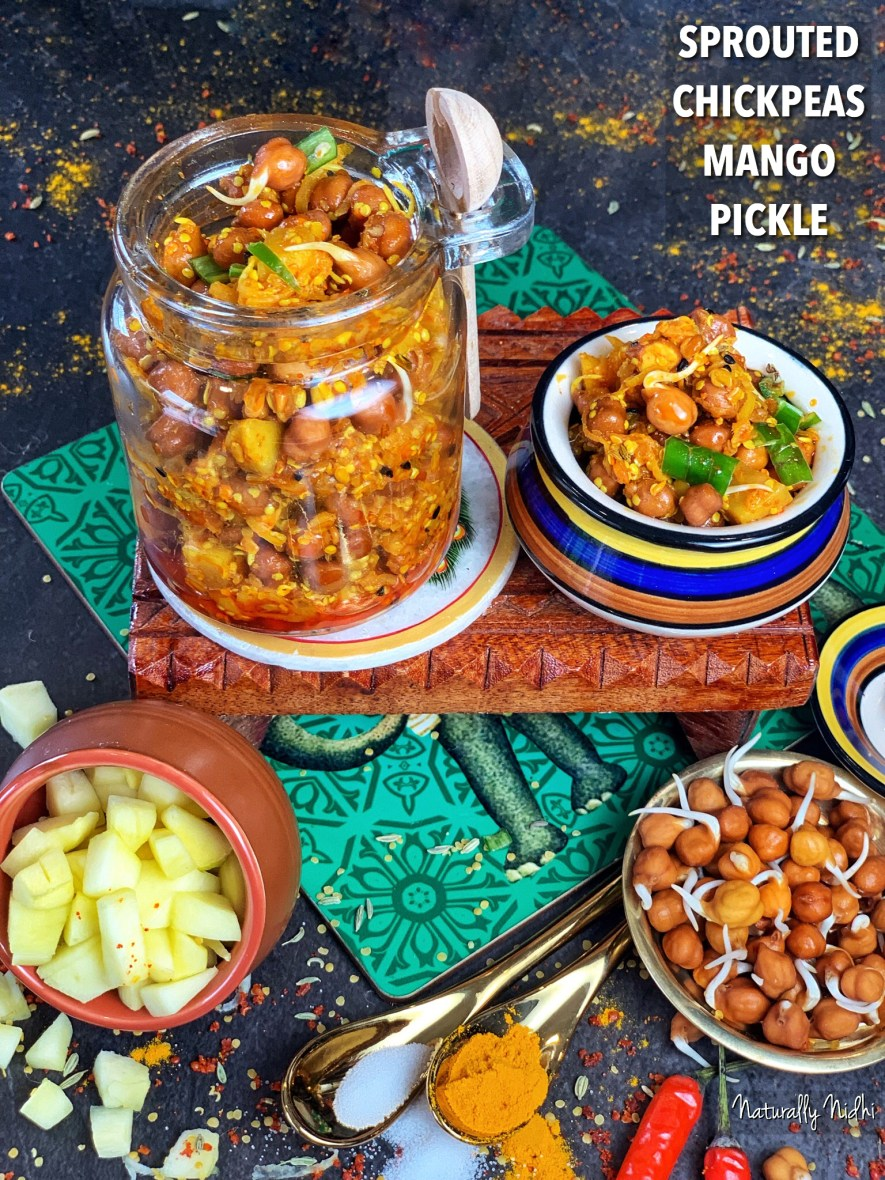 Exquisitely tangy and complexly crafted, this Sprouted Chickpeas Mango Pickle is the perfect condiment to add drama and dynamism to any Indian meal! Layered with probiotics from the sprouted chickpeas and fermentation, it's a super healthy side that keeps your stomach cool!
