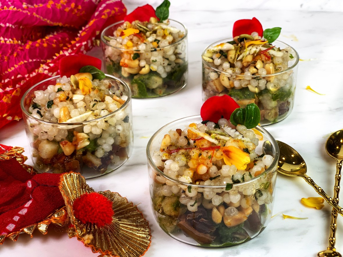 Packed full of various spices, textures, and flavors, this Saffron Rose Dates Sabudana Chaat is a perfect meal to try during the Navaratri Vrat. It's elevated with saffron, rose, dates, and other ingredients that you typically don't see in a chaat. It's a super simple dish that comes together in less than 10 minutes. Aromatics like cilantro, lemon, and black pepper create a very fragrant, slightly tangy, and a little sweet chaat.