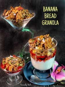 Deceptively easy and undeniably flavorful, this Banana Bread Granola features nutritious walnuts, almonds and chia seeds. Bursts of banana and hints of cinnamon make this nutritious granola, the perfect way to start your day.