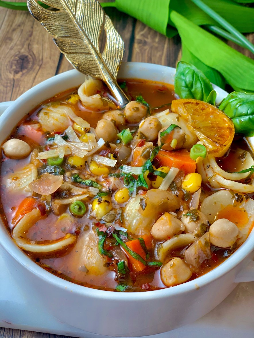 Minestrone Soup, a medley of colorful vegetables and fun-shaped pasta submerged in a delicate broth. This classic soup is super filling with the pasta and chickpeas, but super light at the same time. Soups are a great detox for the body and by fortifying it with some protein and carbs, it's becomes a full meal!