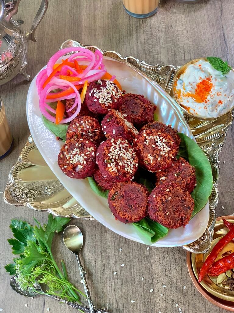 Beetroot Kebabs with Creamy Mustard Dip - crunchy, smoky kebabs made with kidney beans and beets, that are perfect as an appetizer. These vegetarian kebabs or cutlets are a definite showstopper at the dinner table!