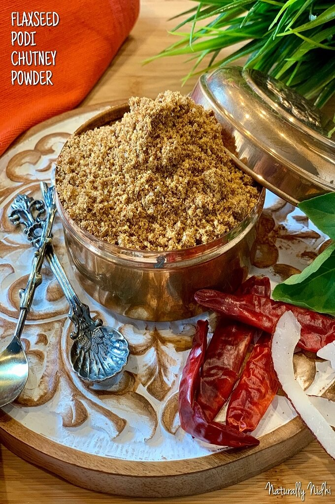 Flaxseed Podi - Chutney Powder is a nutritious, flavorful accompaniment to idlis, dosas, and breakfast sandwiches. Traditionally, podi powders are a blend of lentils and beans that are used as a substitute for sambhar and chutney with meals and breakfast dishes. This version is made with flaxseeds which are super high in fiber, omega 3, and vitamins to make sure that your dishes are both delicious and healthy!
