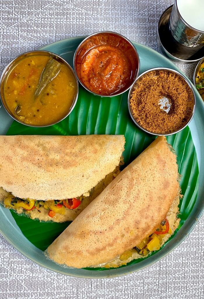 This Ghee Roasted Moong Dal Dosa is a crunchy, thin crepe made with yellow lentils and spices. Since they don't need to be fermented, they're a super quick meal option! Packed full of protein, these dosas are super nutritious and can be enjoyed as a light breakfast or snack!