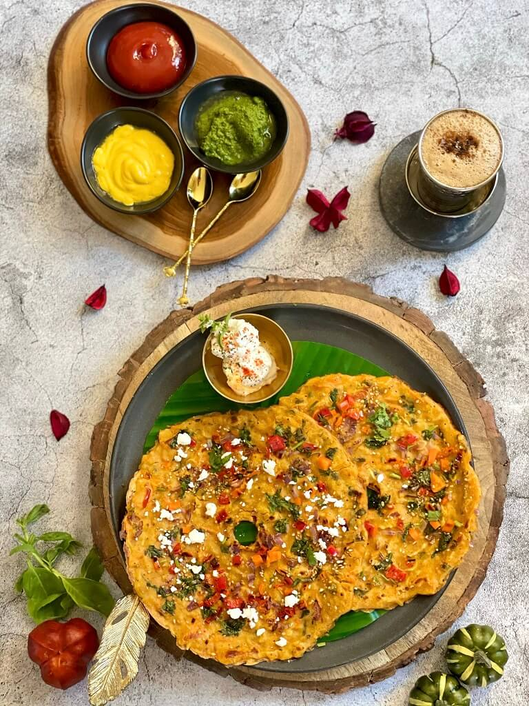 Chawal na Pudla (Savory Multigrain Rice Pancakes) is a nutritious, filling meal that's guaranteed to keep you energized for your day! With whole grains, fresh veggies, and a delicious whipped feta dip, it's also perfect as snack or breakfast to start your day.