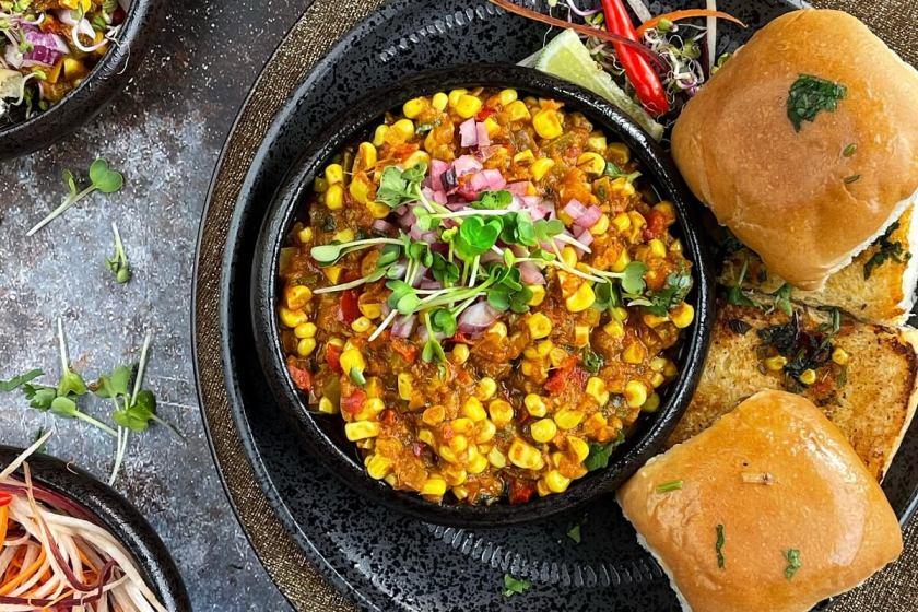 Corn Pav Bhaji (Instant Pot or Stovetop)