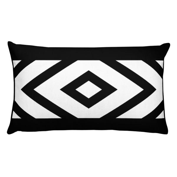White On Black Geometric Throw Pillow
