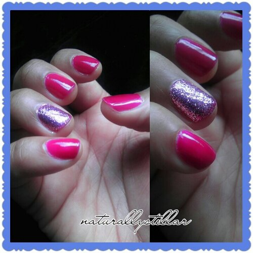 nailart, nailporn, naturallystellar, wetnwild, cosmetics, beauty, nails, manicure, FuschiaRama, Sparkled, Nailpolish