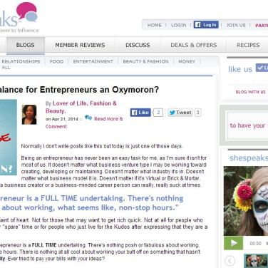 Naturally Stellar Featured On SheSpeaks.com - Is Work Life Balance An Oxymoron?
