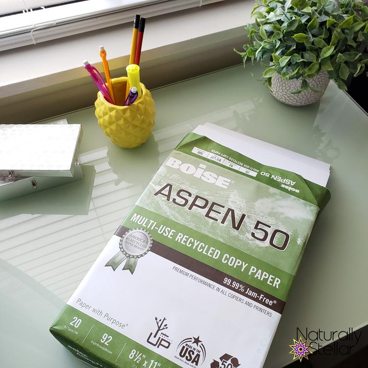 Boise Aspen Recycled Paper on desk   Naturally Stellar