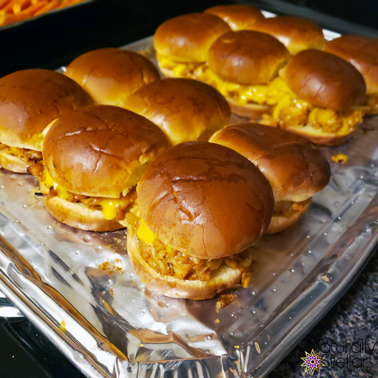 Pan of fresh baked sliders on baking pan | Naturally Stellar