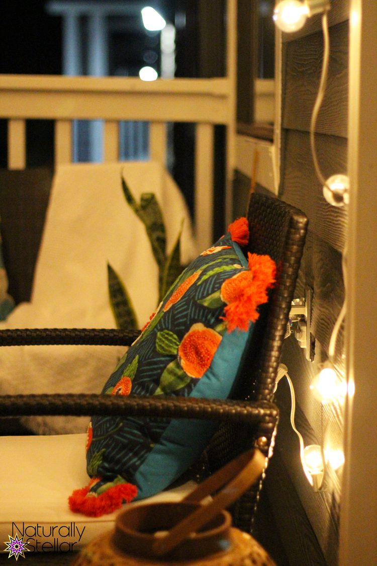 Balcony lights at night. 5 ways to get your small apartment ready for guests. Naturally Stellar