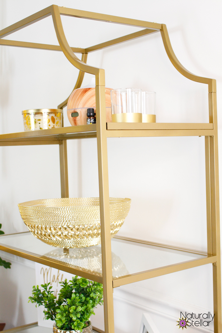 Shared home office with gold etagere shelf separating spaces | Naturally Stellar