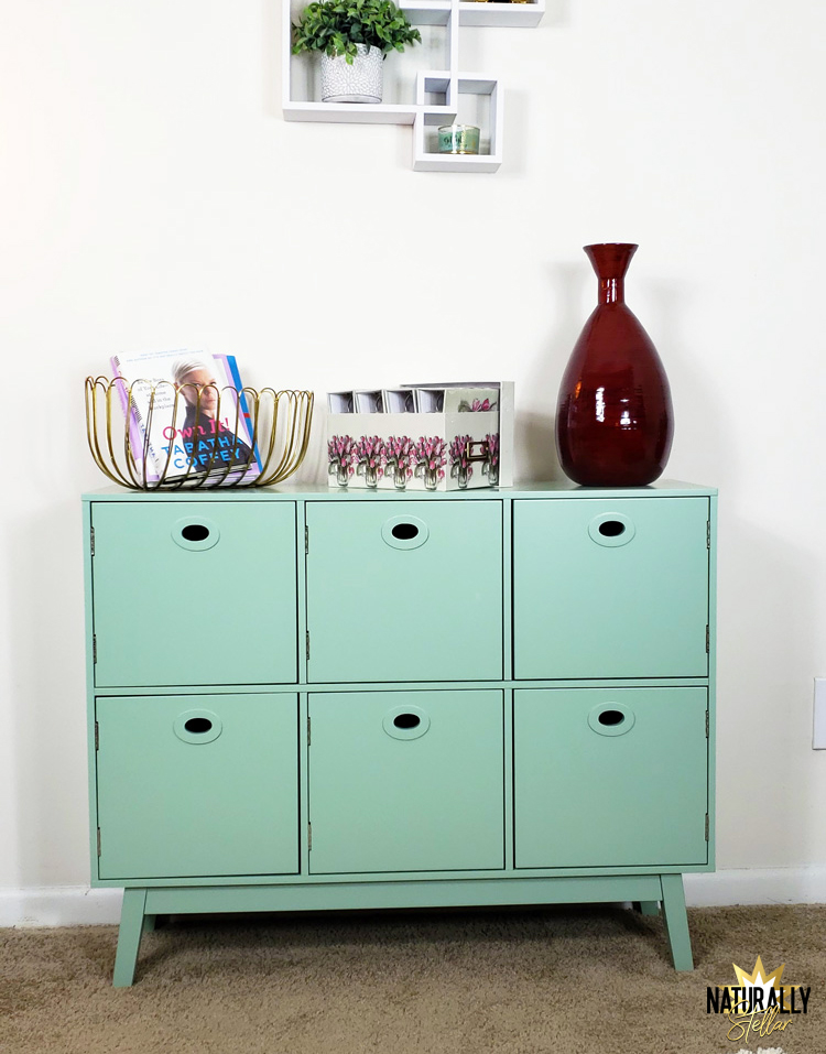 Stylish ways to store clutter around your home. Gorgeous mint media cabinet from Wayfair | Naturally Stellar