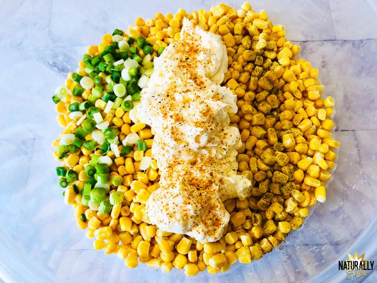 Ingredients for street corn bake in mixing bowl | Naturally Stellar