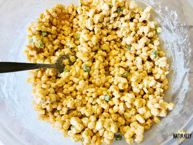 Mixing up ingredients for street corn bake | Naturally Stellar