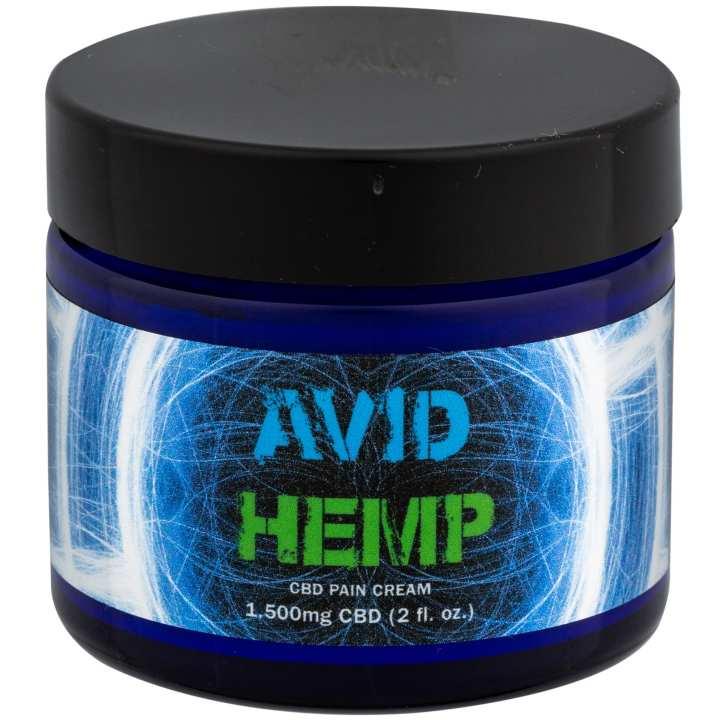 A jar of Avid Hemp Pain Cream