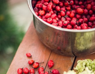 Cranberries in a bowl.