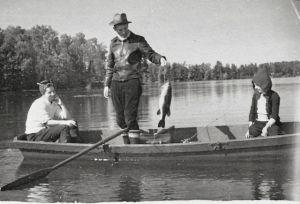 popple lake in boat