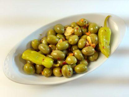 """Мікс оливок та перчиків у пікантному маринаді """"Валенсія"""". В оливковій олії, лимонному соці, розсолі та іспанські спеції с/к 3кг с.в."""