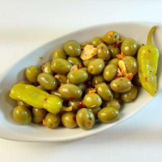"""Мікс оливок та перчиків у пікантному маринаді """"Валенсія"""". В оливковій олії, лимонному соці, розсолі та іспанські спеції с/к 1,8кг с.в."""